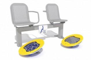 Zestaw podwójny ławka z ruchomymi platformami zawierającymi labirynty