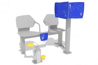 Zestaw podwójny ławka z rowerkiem i tablicami do ćwiczenia pamięci 1