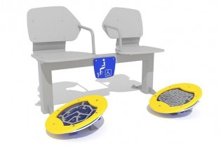 Zestaw podwójny ławka z ruchomymi platformami i labirynt