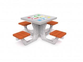 Betonowy stół do gry w chińczyka 01