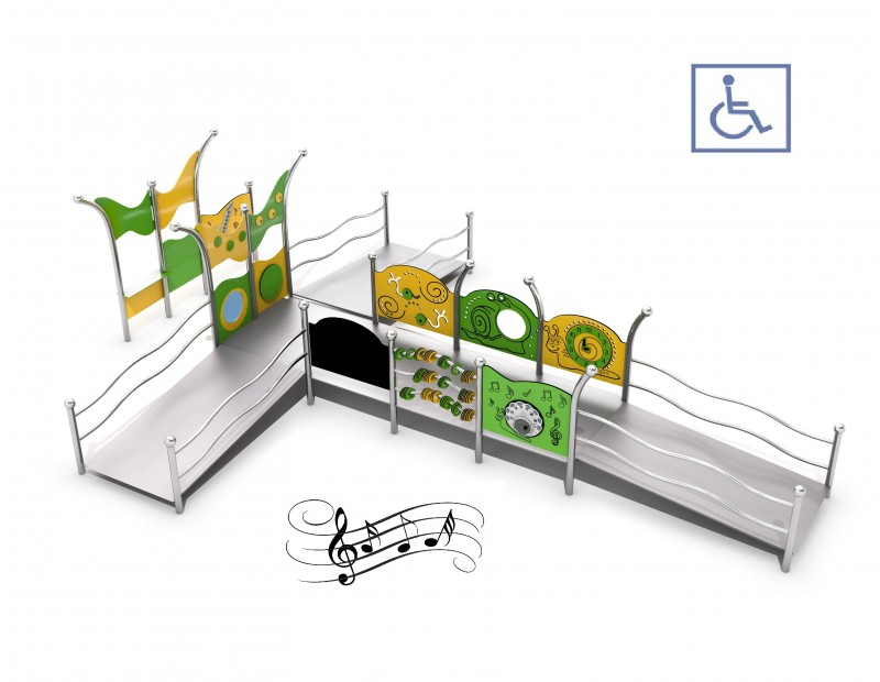 Playground for disabled people, producer of metal devices, handicapped playground equipment Zestaw integracyjny Kajo 2