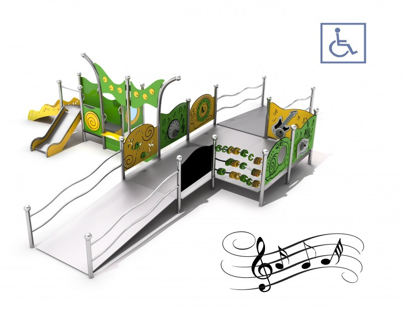 Playground for disabled people, producer of metal devices, handicapped playground equipment Zestaw integracyjny Kajo 3