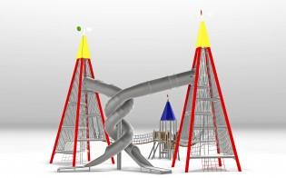 Plac zabaw metalowe wieża widokowa 12