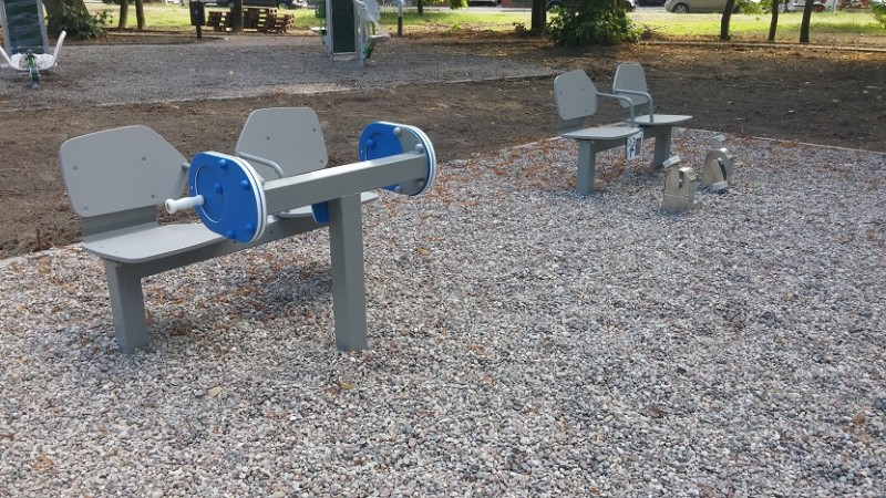 Plac zabaw Zestaw podwójny ławka z rowerkiem PLAY-PARK