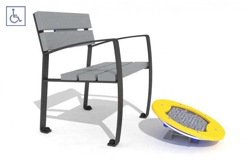 Plac zabaw Zestaw ławka z ruchomą platformą zawierającą labirynt 2 PLAY-PARK