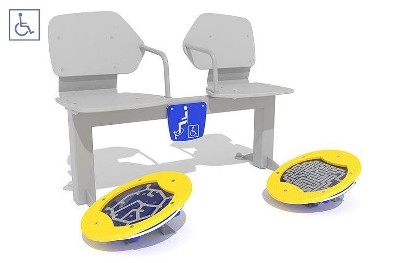 Plac zabaw Zestaw podwójny ławka z ruchomymi platformami i labirynt PLAY-PARK