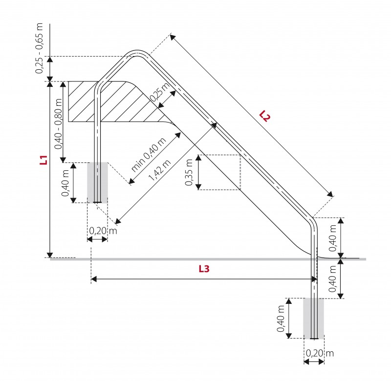 Plac zabaw Zjeżdżalnia poręczowa 1,64 m PLAY-PARK