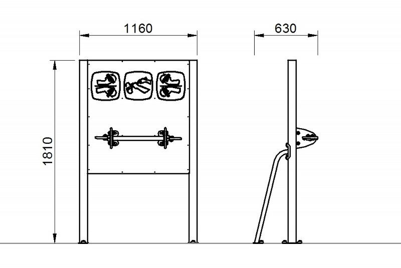 Plac zabaw Tablica z ruchomym drążkiem z uchwytami PLAY-PARK