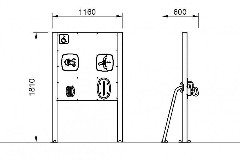 Plac zabaw Tablica z ruchomymi uchwytami - wersja dla osób na wózkach PLAY-PARK