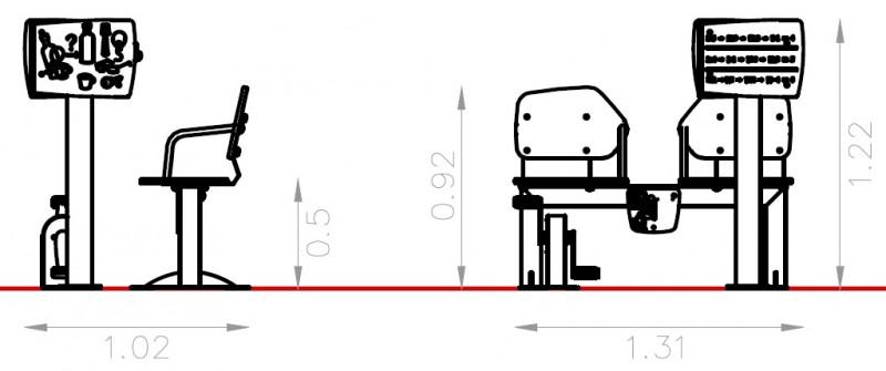 Plac zabaw Zestaw podwójny ławka z rowerkiem i tablicami do ćwiczenia pamięci 1   Play Park