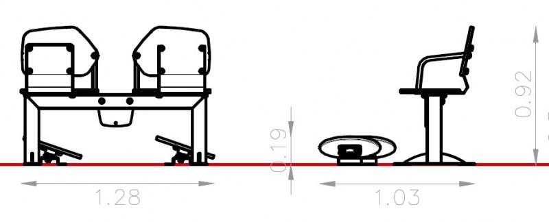 Plac zabaw Zestaw podwójny ławka z ruchomymi platformami 1 PLAY-PARK