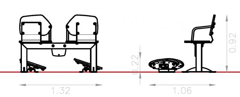 Plac zabaw Zestaw podwójny ławka z ruchomymi platformami zawierającymi labirynty Play Park