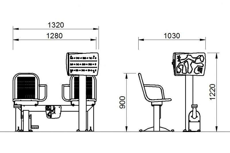 Plac zabaw Zestaw podwójny ławka z rowerkiem i tablicami do ćwiczenia pamięci 1   PLAY-PARK