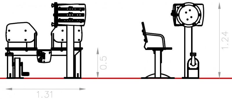 Plac zabaw Zestaw podwójny ławka z rowerkiem i tablicami do ćwiczenia pamięci 2   PLAY-PARK