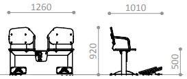 Plac zabaw Zestaw podwójny ławka z ruchomymi platformami 2 PLAY-PARK