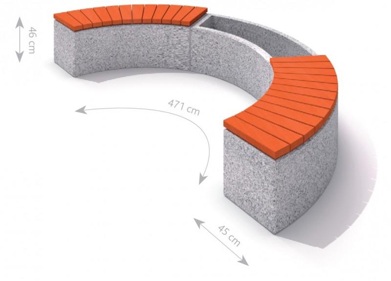 Plac zabaw Donica betonowa zestaw z ławką 01 PLAY-PARK