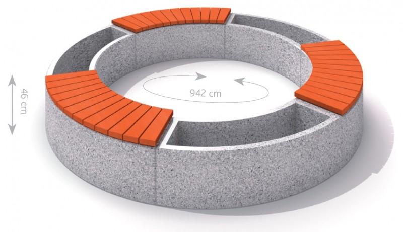 Plac zabaw Donica betonowa zestaw z ławką 03 PLAY-PARK