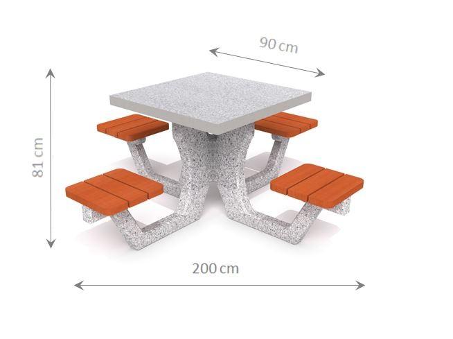 Plac zabaw Betonowy stół piknikowy 01 PLAY-PARK