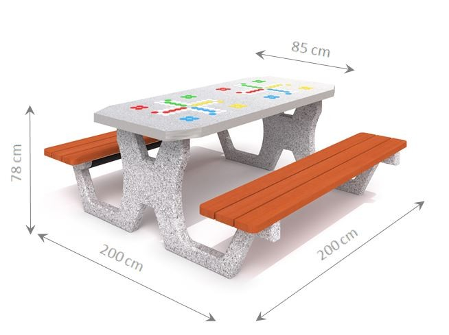 Plac zabaw Betonowy stół do gry w chińczyka 02 PLAY-PARK