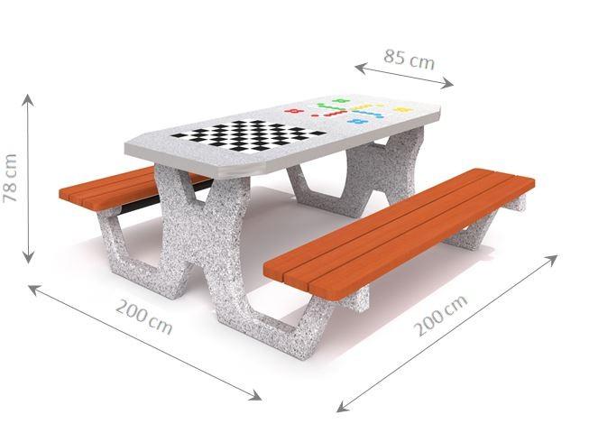 Plac zabaw Betonowy stół do gry w szachy / warcaby / chińczyka 02 PLAY-PARK