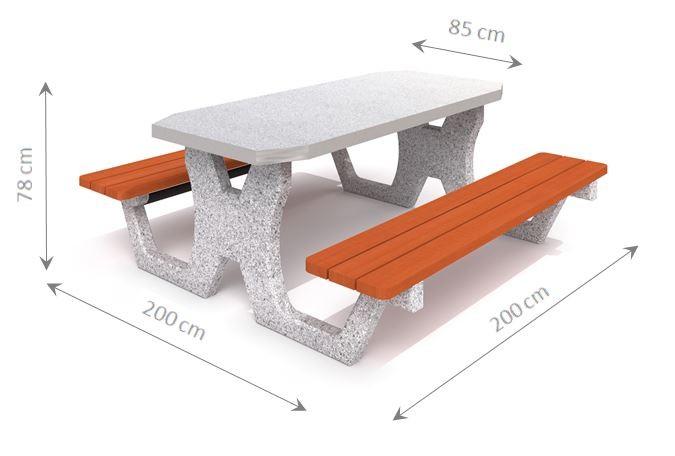 Plac zabaw Betonowy stół piknikowy 02 PLAY-PARK