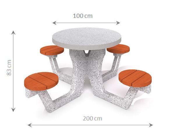 Plac zabaw Betonowy stół piknikowy 03 PLAY-PARK